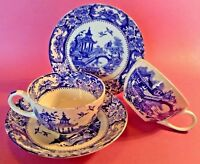 Alton Ware - 2 Cups And Saucers - Blue And White Transferware - England