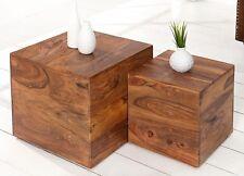 2er Set Beistelltisch Couchtisch Tisch Palisander Sheesham Massiv Hocker Holz