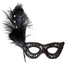 Black Leopard Eyemask Eye Mask With Strass Feathers Masquerade Ball Fancy Dress