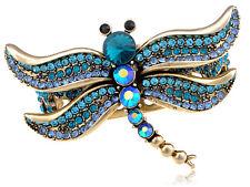 Blue Zircon Crystal Dragonfly Over Gold Alloy Cuff Bracelet Fashion Bangle Band