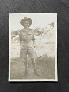 Vintage BW Photo #EA: Military : In Oversea Uniform Shorts Hat