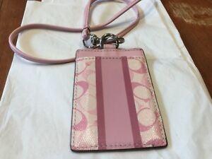 NEW COACH Pink/White Heritage Stripe Lanyard ID Holder/Case/Badge Holder  #61008