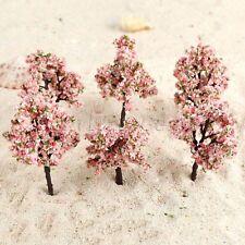 Model Tree Train Pink Flowers Set Scenery Landscape OO HO Scale 11cm 10Pcs