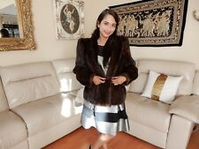 GENUINE MINK FUR COAT JACKET PARKA SAGA BOLERO CAPE CHEVRON SLEEVE Leather Strap