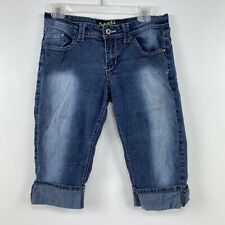 ANGELS Denim Cuffed Capris Stretchy Sz 11 Light wash cuffed Button Pockets Jeans