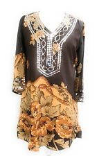 Ladies Printed Embellished Sequins ¾ Sleeve Tunic Top One Size Fits All NWT.