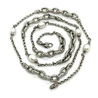 "Scott Kay Sterling Silver Pearl Heavy Necklace. 36""."