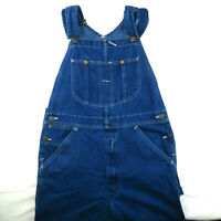 Vintage Sears Roebucks Overalls USA Mens Dark Wash Carpenter Blue Jean 34x30