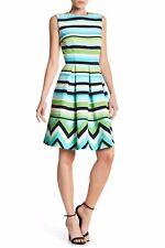 Sandra Darren Striped Box Pleated Dress sz 4