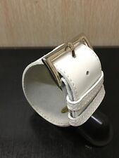 Fashion faux leather wide bracelet cuff wristband in white.