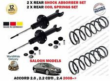 FOR HONDA ACCORD SALOON 2008->NEW 2x REAR SHOCK ABSORBER + 2 X COIL SPRINGS SET