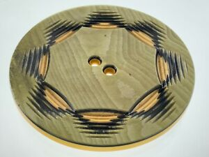 Carved Bakelite Green/Beige Color Garment Button 2in Marble Pattern 344B