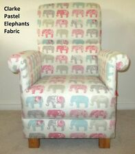 Clarke Elephants Fabric Adult Chair Pastel Pink Blue Nursery Flowers Armchair