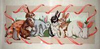 "MZC Bunny Rabbits Rug 21""x38"" HP Hand Painted Needlepoint Canvas"