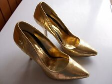 Babyphat GOLD EMBROIDER EFFECT STILETTO SHOES US7B UK5 **GC**