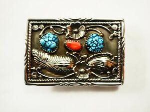 Sharp Navajo Three stone Turquoise Coral Belt Buckle Sterling Silver