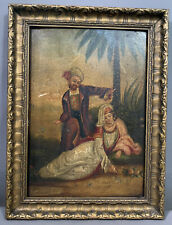 19thC Antique VICTORIAN Era LADY & MAN Tropical Garden PAINTING on WOOD PANEL