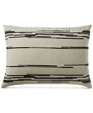 Hotel Collection Global Stripe 100% Linen KING Sham Light Beige $150 i3286