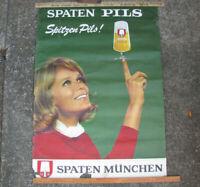 """1960s LG GERMAN BEER POSTER w FRAULEIN 33x47"""" SPATEN PILS MUNICH MUNCHEN vintage"""