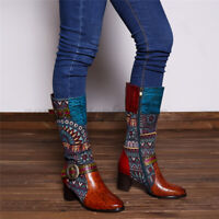 SOCOFY Women Vintage Pattern Genuine Leather Splicing Jacquard Knee High