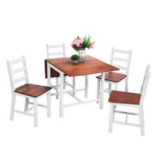 Folding Drop leaf Dining Set Table and 4 Chairs White Compact Set Kitchen Home