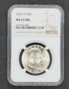 1961-D Franklin Half Dollar | NGC MS65FBL | Nice, White Coin! Better Date!