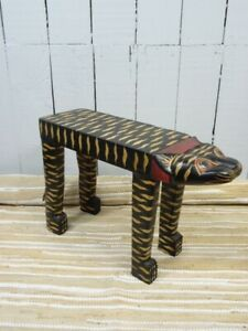 CAT SIDE TABLE COFFEE TABLE BROWN RED GOLD TABLES CAT FAIR TRADE Hand Made Small