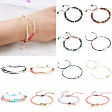 Fashion Boho Natural Stone Beaded Handmade Braided String Rope Bracelet Women