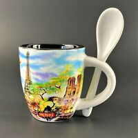 Vintage Paris Souvenir Demitasse Espresso Mug Cup w/Spoon 4 oz. Eiffel Tower