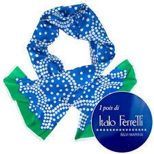 New ITALO FERRETTI Italy Blue 100% Silk Scarf Shawl Headscarf NWT $495!