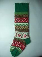 "Vtg. Christmas Stocking Santa Trees Knit Old Holiday Mantle Decoration 26""x 6"""