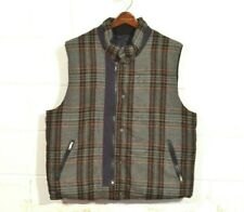 Burberry XL Navy Blue / Gray Check Wool Reversible Snap Zip Goose Down Vest