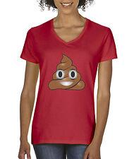 New Way 119 - Women's V-Neck T-Shirt Apple Facebook Emoji POOP Cartoon Funny