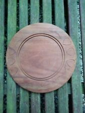 "Vintage Round Hardwood Display Platter - 11"" - Folk Art"