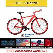 Rapid Evolve Bullhorn Bars Fixed Gear(Fixie)Bike-Red, Warranty,Free Shipping