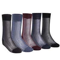 Men's Sheer Silk Jacquard Over the Calf Striped Business Thin Socks - 3 Pairs