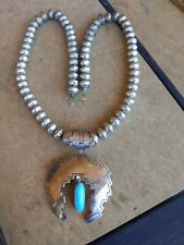 Vintage Sterling Navajo Turquoise and  Pearls Naja Necklace Alice E Platero