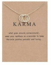 KARMA NECKLACE & MESSAGE ON CARD, GOLD TONE,  SAME DAY FREE  POST