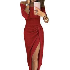 Womens Ladies Off Shoulder Long Sleeve Evening Party Celeb Split Long Maxi Dress