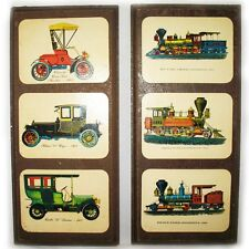 LOT 2 OLD CLASSIC ANTIQUE CARS TRAIN LOCOMOTIVE Wood Wooden Wall Hanging Plaques