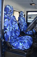 Land Rover Defender 90 110 2007-2015 Impermeable Fundas Asiento Frontal Azul