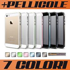 COVER BUMPER per iPHONE 5 5S + PELLICOLA SLIM METAL CASE SILICONE TPU OFFERTA