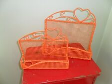 Vintage Metal Wire Letter Holders SET OF 2 Up Cycled Orange Hearts Country Chic!