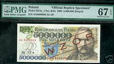 1995 POLAND 5,000,000 ZLOTYCH SPECIMEN #19 OF 99 PMG MS67
