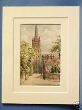 NORWICH CATHEDRAL PRECINCTS VINTAGE MOUNTED PRINT 10X8