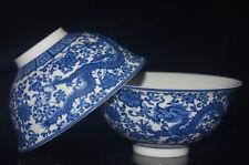 2PCS CHINESE JINGDEZHEN BLUE AND WHITE PORCELAIN HANDMADE PAINTED DRAGON BOWL SL
