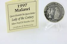 1997 Malawi Prova D'argento 20 Kwacha Regina Mother Signora of the Century COA