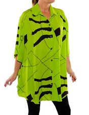 We Be Bop Beautiful CHARTREUSE GREEN Crinkle Rayon BIG Tunic