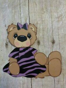 Girl bear in purple zebra dress scrapbook paper piecing