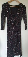 M&S Crocus Floral Faux Wrap Stretchy Dress Size 8